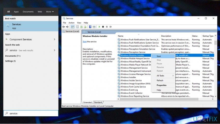 Start Windows Module service