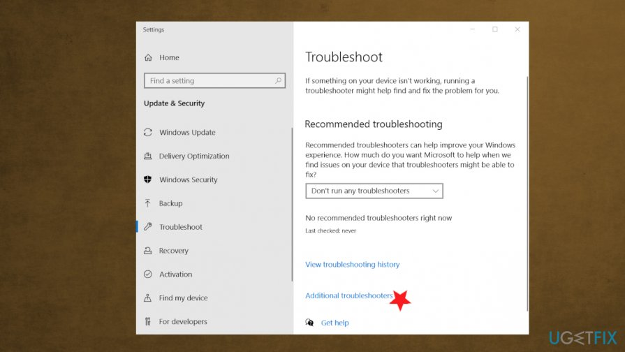Additional troubleshooting options