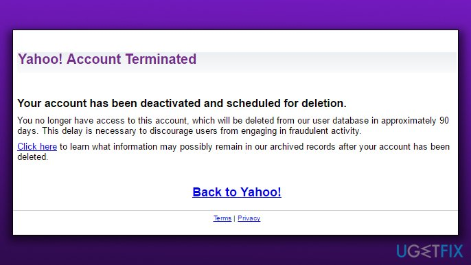 Yahoo Account Deleted Success