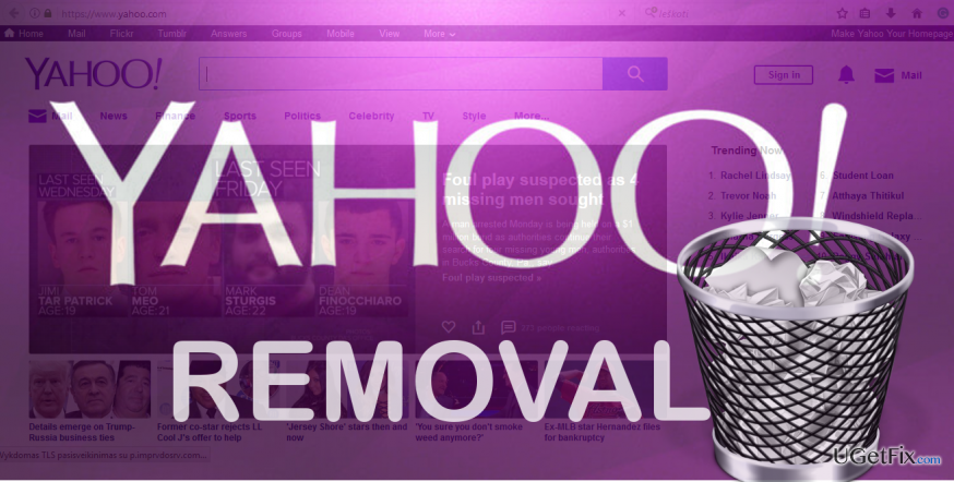 illustrating Yahoo Search removal