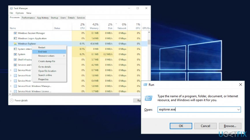 Restart Windows Explorer